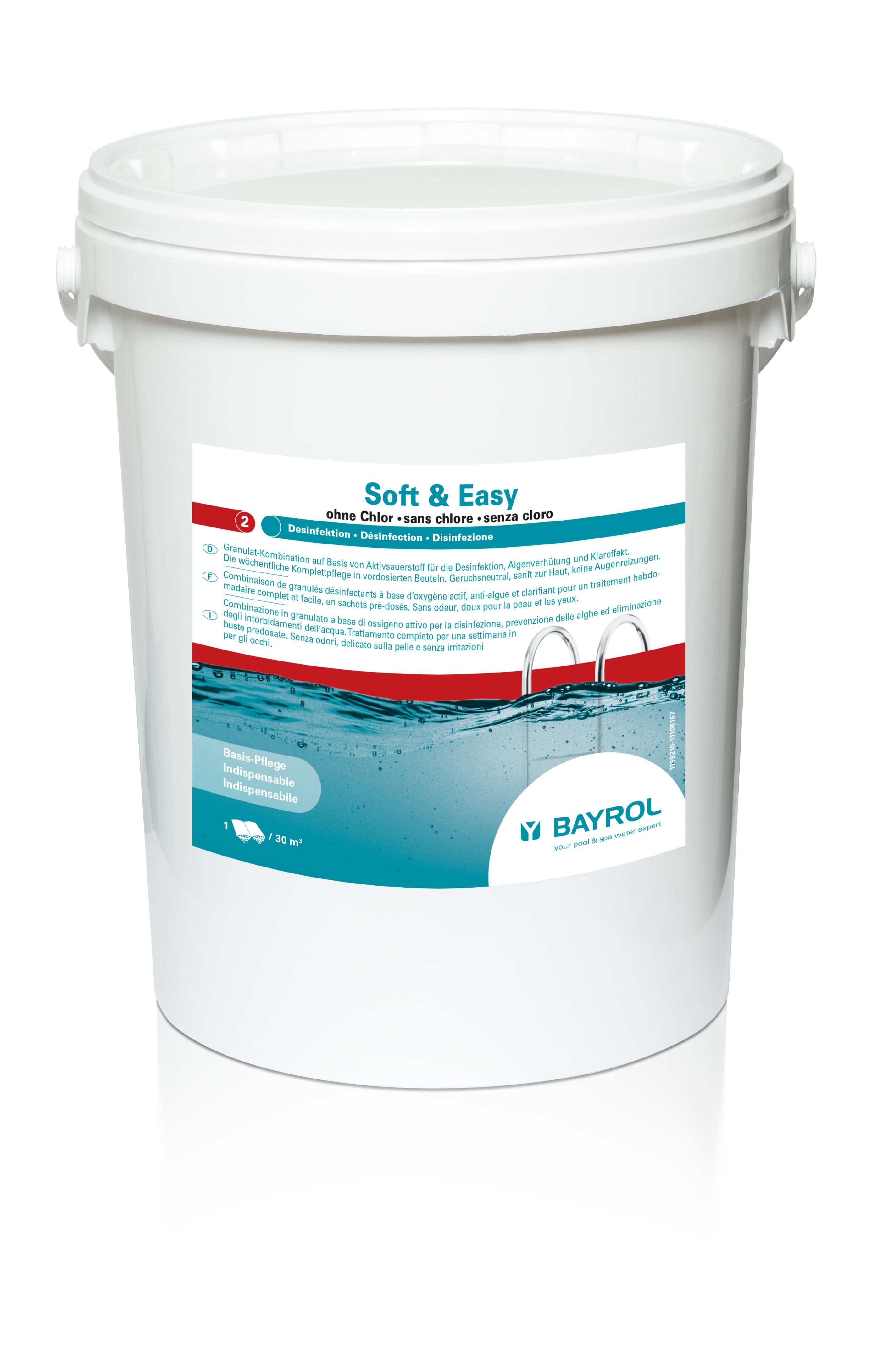 Soft & Easy f. 30m³ 16,8 Kg mit Aktivsauerstoff ohne Chlor 40 Btl. im Eimer