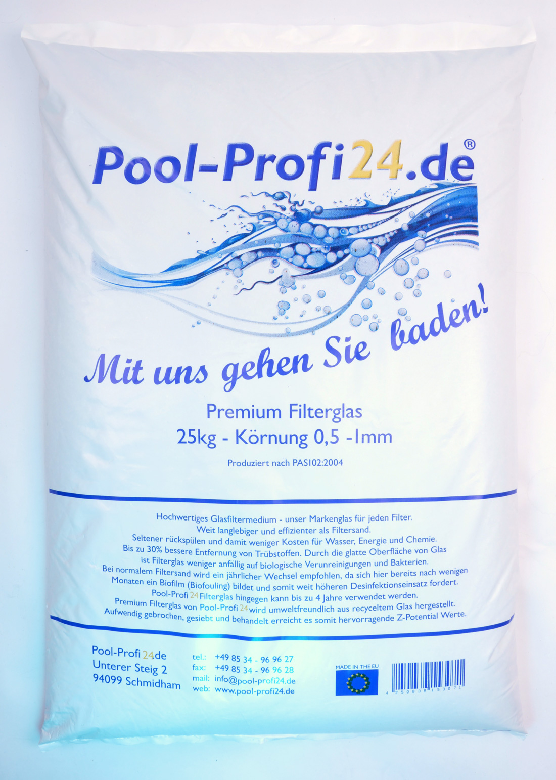 25kg Glasfilter für Sandfilteranlagen 0,5-1,0mm