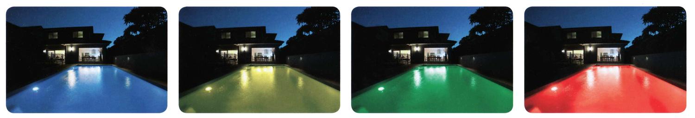 Verschiedene Farben im Pool durch RGB Technik
