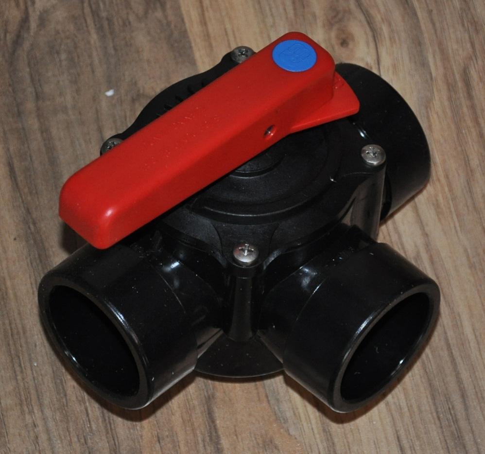 Dreiwegehahn PVC mit Klebemuffen manuell d 50mm