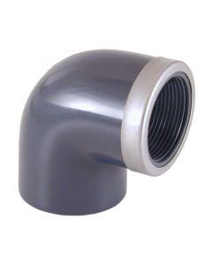 90° Winkel PVC Klebefitting d 20mm Muffe/verstärktes Innengewinde