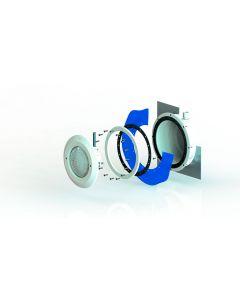 Unterwasserscheinwerfer Set ABS für Folienbecken mit Einsatz, Nische, Flanschsatz, Gewindeinserts und Kabelschutzschlauch und Leuchtmittel