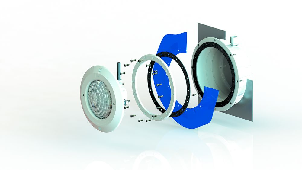 AstralPool Unterwasserscheinwerfer Set ABS für Folienbecken mit Einsatz, Nische, Flanschsatz, 12V / 300W